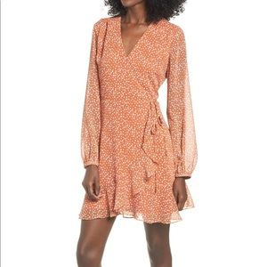 All in Favor Orange Spotted Wrap Dress Small